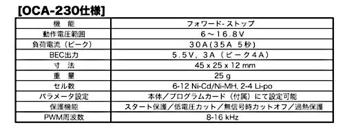 OS ブラシレスモーターコントローラー(ESC) OCA-230 プログラマーOCP-2付属 (52020031)