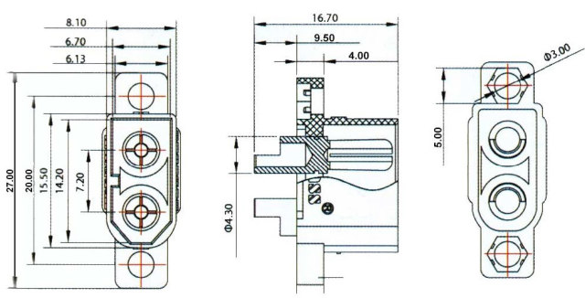 AMASS 純正 XT60E-M ドローン用マウント式XT60オスコネクター