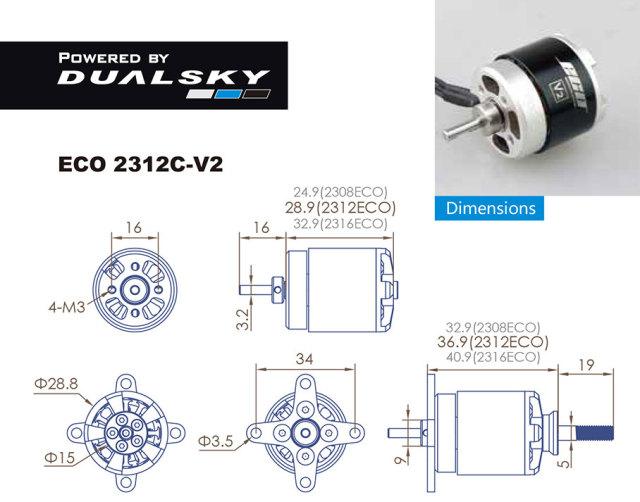 デュアルスカイ ECO 2312C-V2 アウトランナーブラシレスモーター (1150RPM/276W)
