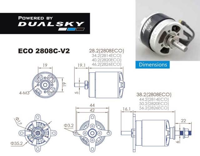 デュアルスカイ ECO 2808C-V2 アウトランナーブラシレスモーター (1200RPM/336W)
