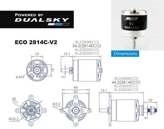 デュアルスカイ ECO 2814C-V2 アウトランナーブラシレスモーター (1120RPM/432W)