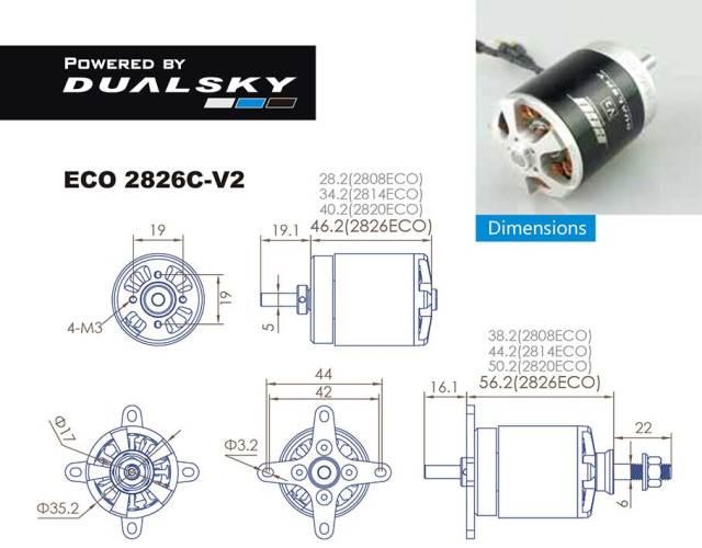 デュアルスカイ ECO 2826C-V2 アウトランナーブラシレスモーター (720RPM/750W)