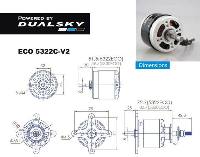 デュアルスカイ ECO 5322C-V2 アウトランナーブラシレスモーター (300RPM/2560W)