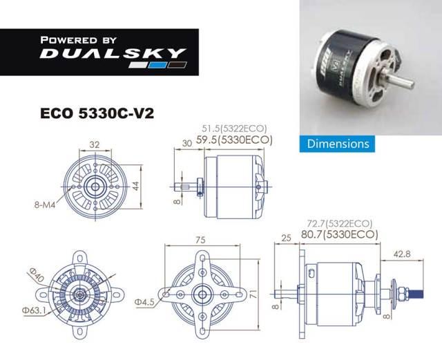 デュアルスカイ ECO 5330C-V2 アウトランナーブラシレスモーター (205RPM/3400W)