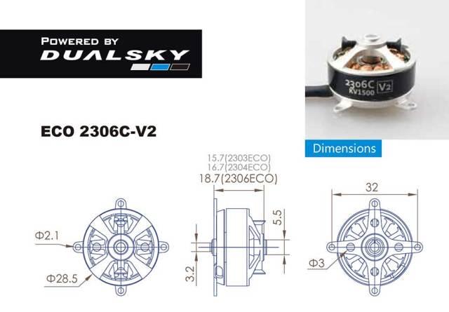 DUALSKY ECO 2306C-V2 アウトランナーブラシレスモーター  (2300RPM/180W)