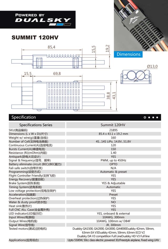 DUALSKY SUMMIT120HV OPTOスピードコントローラー