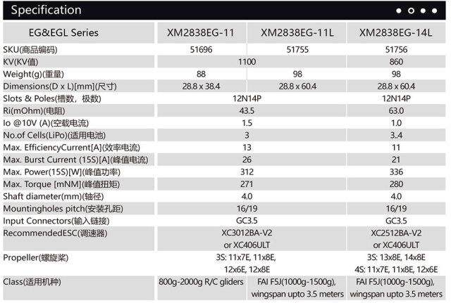 デュアルスカイ XM2838EG グライダー用アウトランナーブラシレスモーター