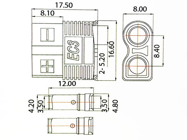 AMASS EC3コネクターオスメス1ペア