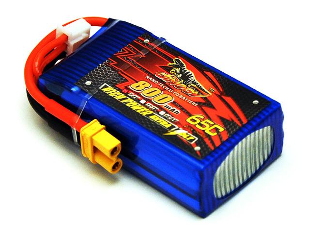 DINOGY ダイノジー リポバッテリー 7.4V800mAh 65C XT30 (LC-2S800H) FPVレーサーに最適